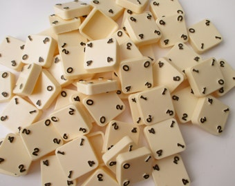 Quad-ominoes ivory colored plastic  tiles - 56 pieces - game, tiles, numbers, assemblage