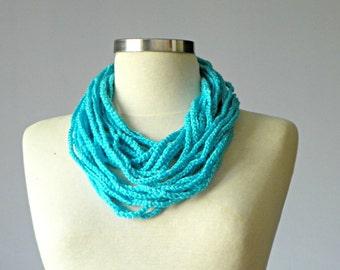 Crochet infinity chain scarf, handmade chunky neckwarmer fashion women accessories, blue, christmas gift idea