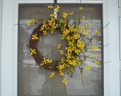 Front door wreath,wreath,boxwood wreath,spring wreath,forsythia,outdoor wreath,greenery wreath,wispy wreath,candlering,birthday gift,gift