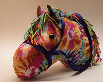 Stick Horse Head, Tie Dye with Purple Tones, MADE to ORDER, With or Without Stick