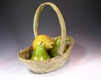 Stoneware basket with handle, hand built pottery basket, ceramic basket, pottery centerpiece, ceramic basket with handle