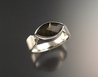 Rutilated Quartz and Rainbow Obsidian Ring Sterling silver East West Bezel set Handmade Doublet ring