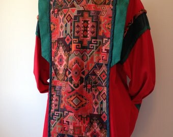 Funky Patterned Navajo Style 80s Vintage Jacket / Boho Abstract Coat / One Of A Kind Fashion Jacket