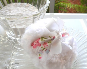Body Powder Puff - White Floral bath pouf duster - pink and white powderpuff - blanc - gift box option - by BonnyBubbles
