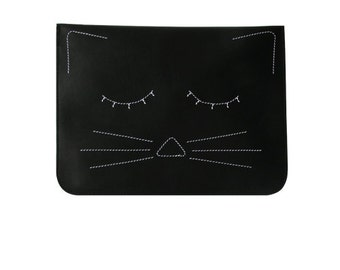 Black cat clutch / leather clutch / brass zip / cat bag / Clutch / Bag / Purse
