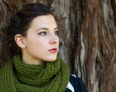 Avocado Green Infinity Women's Fashion Knitted Scarf Warm and Soft (Made to Order)