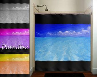 Paradise Ocean Sea Tropical Beach House Shower Curtain Bathroom Decor  Fabric Kids Bath Window Curtains Panels