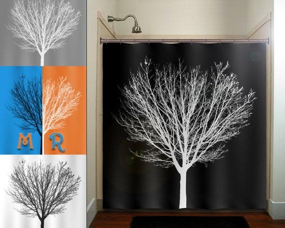 white winter tree black shower curtain bathroom decor fabric