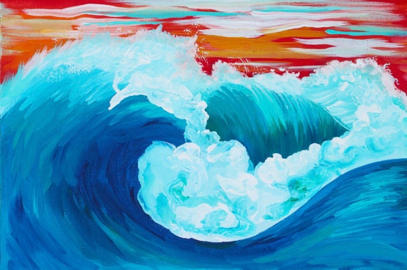 Wave Art Painting // Sunset Wave // Colorful Costa Rican Original Art Wave Painting Acrylic // Hand painted Canvas 24x30x1cm