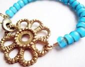 Vintage Brass Hardware Rosette & Glass Bead Bracelet - Turquoise Blue