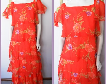 Vtg.60/70s Red Rose Violet Print Chiffon Ruffle Layered Tiered Maxi Dress.S.Bust 35.Waist 28.