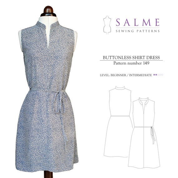 PDF Sewing pattern - Buttonless shirt dress