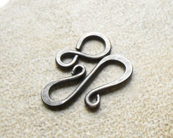 Four Oxidized Sterling Silver Scroll Clasps, Artisan S clasp, Hook Clasp