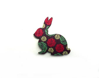 Black & Coloured Roses Laser Printed Wooden Rabbit Brooch - Handmade Vintage Jewellery