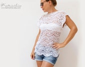 Crochet top in cotton Custom made to order Lace Tank Top White Vest