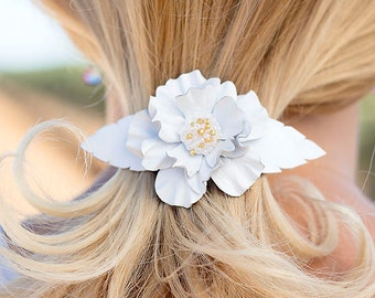 White leather flower french barrette hair clip