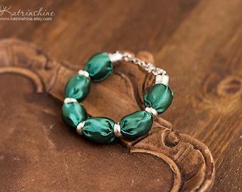 Dark green fabric bead bracelet textile bracelet