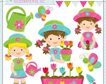 Gardening Girls Cute Digital Clipart, Garden Clip Art, Spring Garden Graphics, Spring Planting, Spring Flower Girl, Garden Graphics