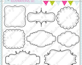 Fun Frames - Cute Frame Clipart - Commercial Use OK - Digital Frames - Journaling Block - Frames Clipart