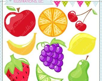 Fruity Cute Digital Clipart - Commercial Use OK - Fruit Clipart - Fruit Graphics - Fruit Images