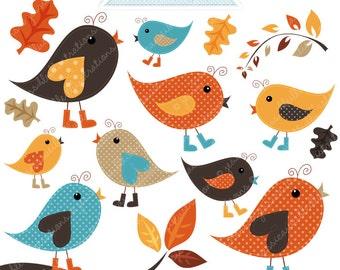 Autumn Chatter Birds Cute Digital Clipart - Commercial Use OK - Autumn Birds - Autumn Bird Clipart , Digital Art