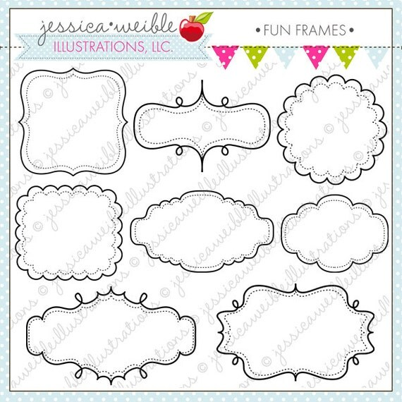 fun frames cute frame clipart commercial use ok digital frames journaling block