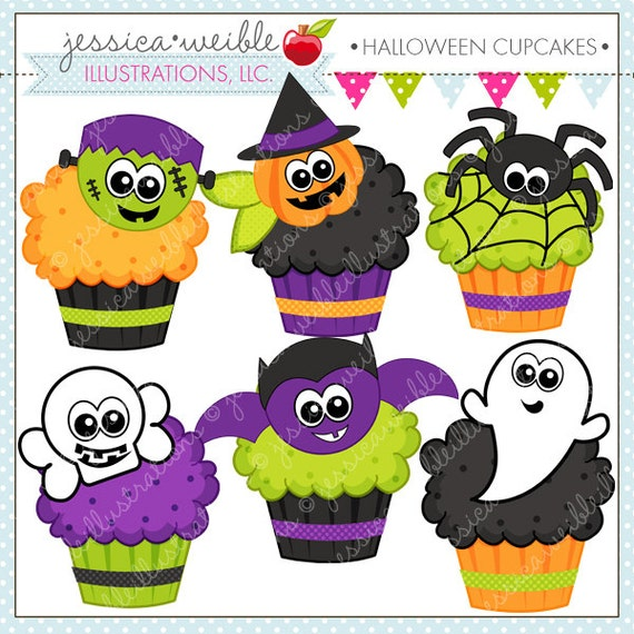 Halloween Cupcakes Cute Digital Clipart Commercial Use OK