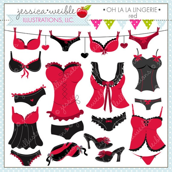 Oh La La Lingerie Red Cute Digital Clipart Commercial