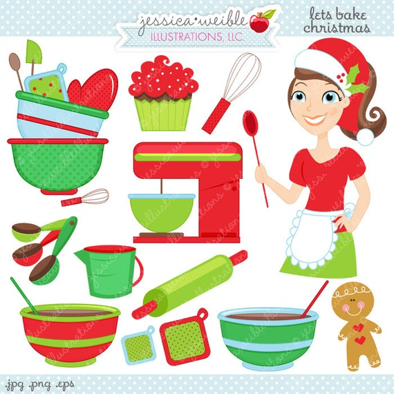 Lets Bake Christmas Cute Digital Clipart Commercial Use Ok