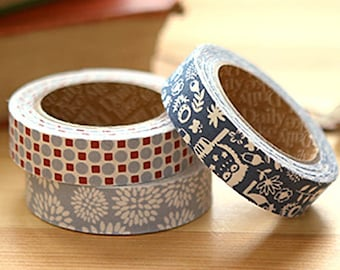 3 Set - Owl Night Blue Flower Adhesive Fabric Tapes (0.6in)