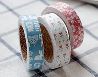 3 Set - Alley Pink Clover Flower Blue Rabbit Adhesive Fabric Tapes (0.6in)