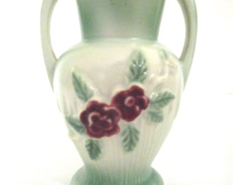 Small Vintage Ceramic Vase in Mint Green with Raspberry Colored Flowers