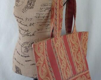 Extra Large Tote, Beach BAG, Diaper BAG, Work Bag, Gym Bag, School Bag,  Knitting Bag, Red and Gold Tapestry
