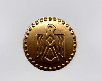 4 Thunderbird Circle Disc Brass Metal Stampings