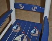 Custom Hand Painted Kids Rocking Chair - Ahoy Mate Nautical Design