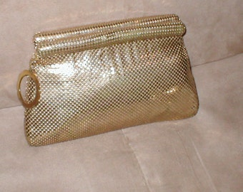 RARE Vintage WHITING & DAVIS Gold Metal Mesh Clutch Purse