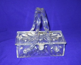 VINTAGE circa 1950.. Clear Lucite Purse with Rhinestones