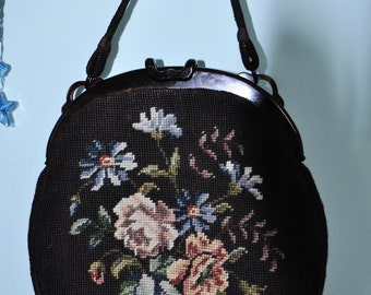 Vintage LARGE Bakelite & Tapestry of Roses Handbag