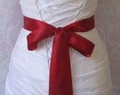 Deep Red Satin Ribbon, 1.5 Inch Wide Double Face, Scarlet Ribbon Sash, Brick Red Bridal Sash, Wedding Belt, 4 Yards