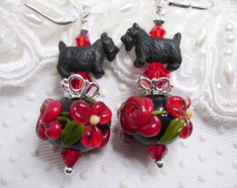 Black Scottie Scotty Dog on Red Roses SRA Lampwork Earrings SS with Swarovski elements Christmas