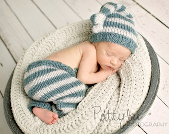 Newborn Knit Pants Hat Set, Baby Knitted Night Cap, Infant Photo Prop, Longies, Chocolate Cream, Blue and Pale Gray Stripes