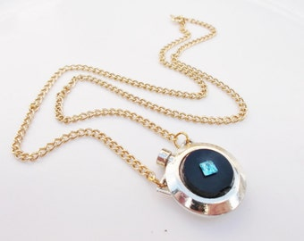 SALVAGED perfume bottle necklace gold and black with blue rhinestone