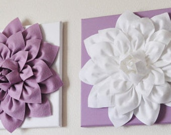 TWO Large Flower Wall Hangings -One Lilac Dahlia on White Canvas One White Dahlia on White Canvas