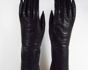 6-1/2-Womens Vintage Black Kid Leather Dress/Prom/Church Gloves - 11 inches(163g)