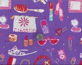 Dress Up Girly Girls I Spy Tiara I Pod Lipstick Cell Phone Play Date Fabric By the Fat Quarter BTFQ