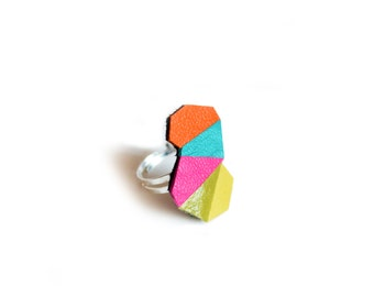 Geometric Adjustable Ring, Neon Leather Ring, Faceted Triangle Turquoise Orange Kaleidoscope