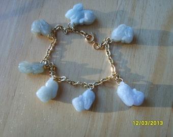 Bunny Charm Necklace, Chinese Zodiac, Jade Bracelet, Charm Bracelet, Rabbit Charm Bracelet, Jade Bracelet, Jade Jewelry