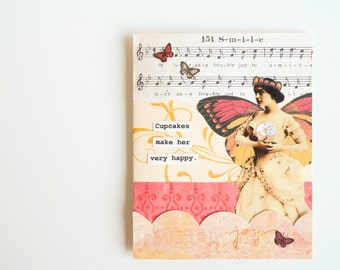 Handmade Card -  Cupcakes make her very happy -  vintage music, birthday, celebration, friendship -  Unique Greeting Card