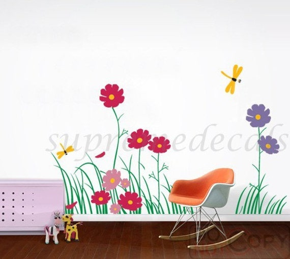 2 sets of  Floral Wall Decals Flower Wall Decals Dragonflies Decals Baby Nursery Room - Colorful Flowers with Dragonflies(31.5inch H)