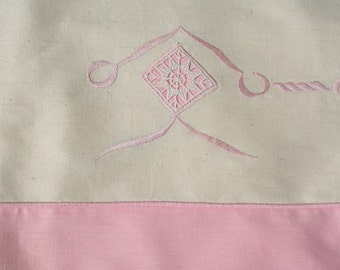 Vintage French Embroidered Sheet Pink with Lace Queen Size